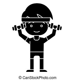 man boy workout with weights hands up icon, vector...