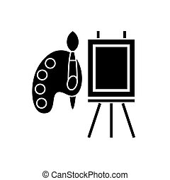 molbert and palette with brush icon, vector illustration,...
