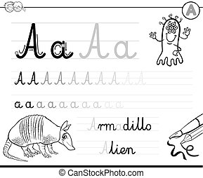how to write letter A worksheet - Black and White Cartoon...