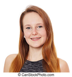 young woman with strawberry blonde hair - headshot of young...