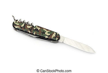 Pocket knife isolated on the white background