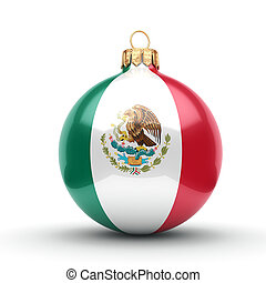 3D rendering Christmas ball with the flag of Mexico - 3D...