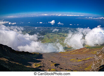 Panorama landscape from the top of Pico volcano at hiking,...