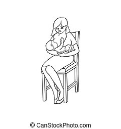 vector flat girl sitting at chair with infant baby - vector...