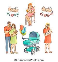 vector flat newborn baby symbols set - vector flat cartoon...