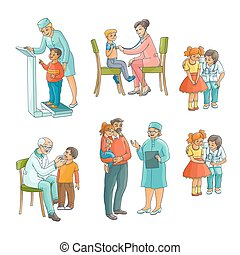 Set of pediatrician, doctor doing medical exam - Set of male...