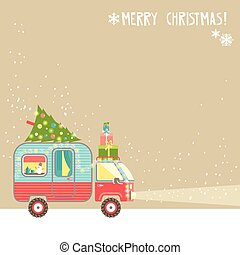 Vector background, merry christmas text. House on wheels....