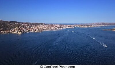Drone video - flying over La Maddalena marina - Sardinia,...