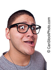 Man Wearing Nerd Glasses - A goofy man wearing trendy nerd...