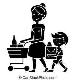 shopping grocery - mother with son and shopping cart icon,...