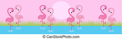 pink flamingo couples standing on one leg