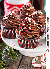 Chocolate peppermint cupcakes with candy cane crumbs
