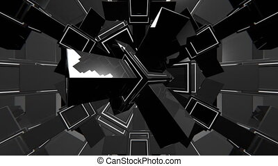 VJ Black and White 3D Shapes - 4K abstract black and white...