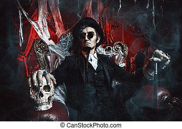 arrogant vampire man - Halloween. Frightening gloomy man in...