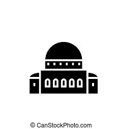 temple - synagogue icon, vector illustration, black sign on...