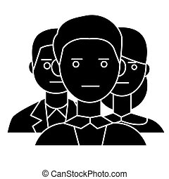 team business 2 man 1 girl icon, vector illustration, black...