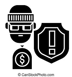 theft - thievery - Insurance against theft icon, vector...