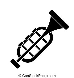 trumpet - horn icon, vector illustration, black sign on...