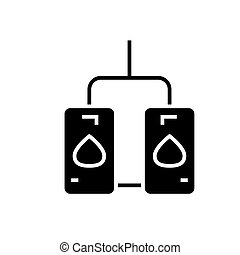water heating tank icon, vector illustration, black sign on...