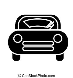 windshield car icon, vector illustration, black sign on...