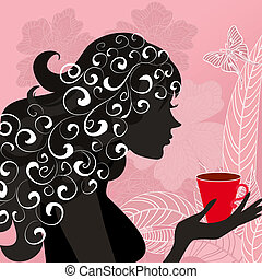 girl with the flower tea