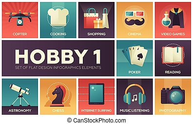 Hobby - set of flat design infographics elements. Copter,...