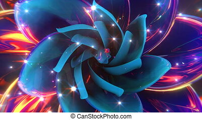 Blooming Abstract Flower - Seamlessly looping video of...