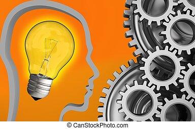 3d blank - 3d illustration of light bulb over orange...
