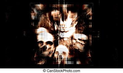 VJ style horror skulls looping animated background - Horror...