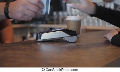 Concept NFC contactless payment. Making payment with credit...