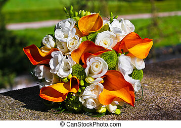 Bridal bouquet - Bridal bouquet with white roses and orange...