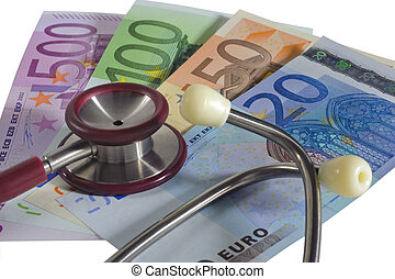 medical stethoscope over euro as symbol for cost in medicine