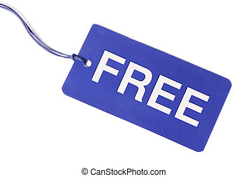 Free tag over white background