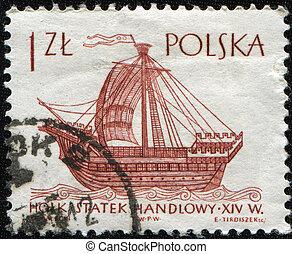 Holk merchant ship, XIV cenchury - POLAND -CIRCA 1963: A...