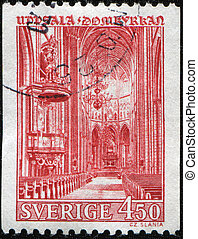 Uppsala Cathedral - SWEDEN - CIRCA 1970: A stamp printed in...