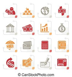 Stylized Bank, business and finance icons - vector icon set