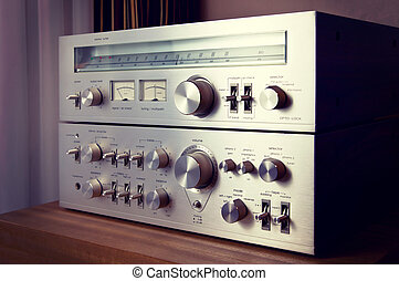 Vintage Stereo Amplifier Shiny Metal Front Panel Controls...