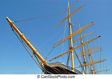 Schooner - masts and bow of a schooner