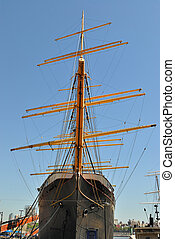 Schooner - Bow of a Schooner against the blue sky with...