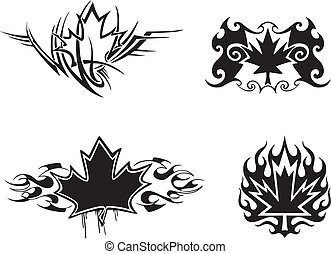 Maple Leaf Flames - Four Canadian maple leaf flame tattoo...