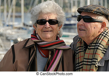 Old senior couple laughing