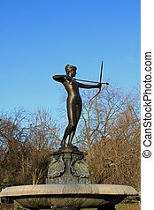Graceful statue of Artemis with bow - Graceful bronze statue...