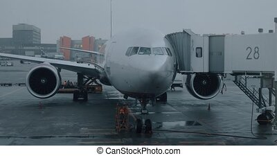 Servicing airplane before boarding in Sheremetyevo Airport,...