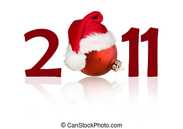 New year 2011 concept with christmas toy - New year 2011...