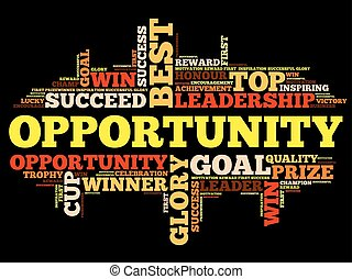Opportunity word cloud collage, business concept background