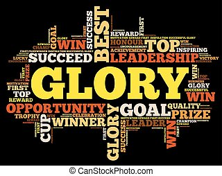 GLORY word cloud collage, business concept background