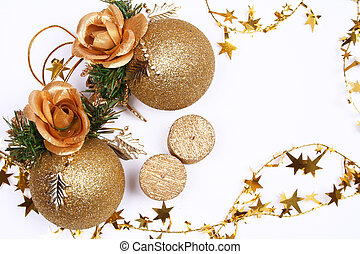 Christmas card with golden balls and candles on white