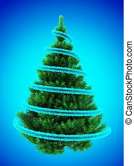 3d tinsel - 3d illustration of Christmas tree over blue with