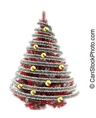 3d tinsel silver - 3d illustration of red Christmas tree...