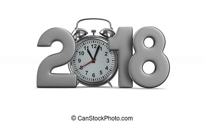 2018 year and alarm clock on white background. Isolated 3D...